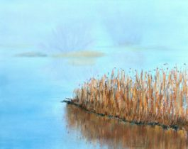 Misty lake painting